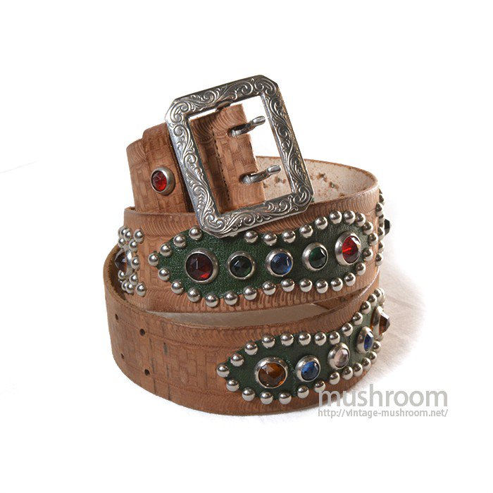 OLD STUDDED JEWEL SADDLE LEATHER BELT( DEADSTOCK )