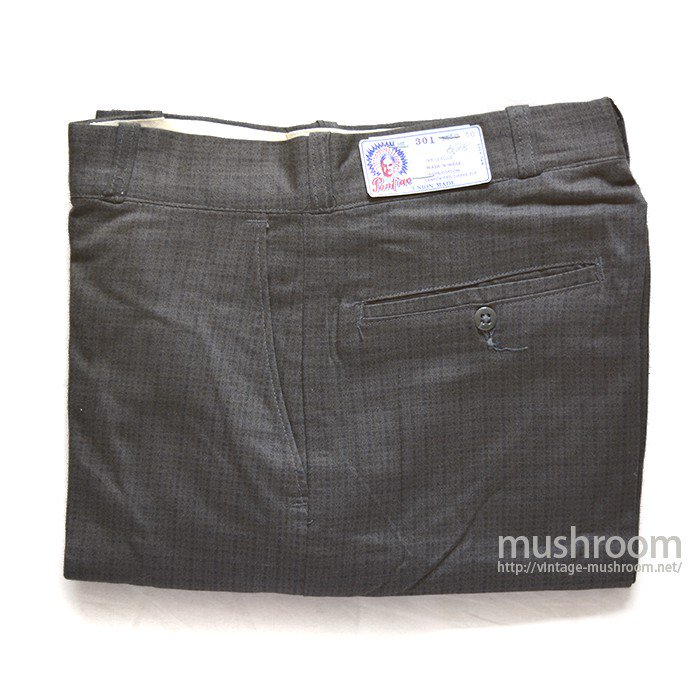 PONLIAC PLAID PRINT COTTON TROUSER( W30/DEADSTOCK )