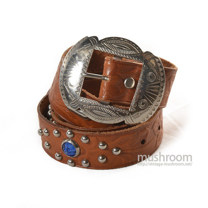 OLD STUDDED JEWEL LEATHER BELT( MINT )