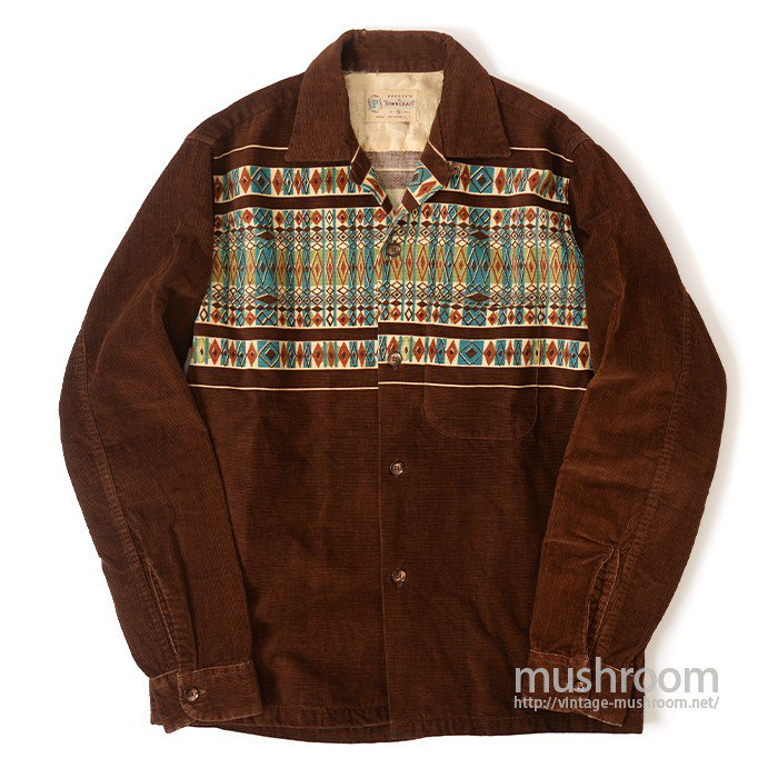 TOWNCRAFT PRINT CORDUROY SHIRT( S/BROWN )