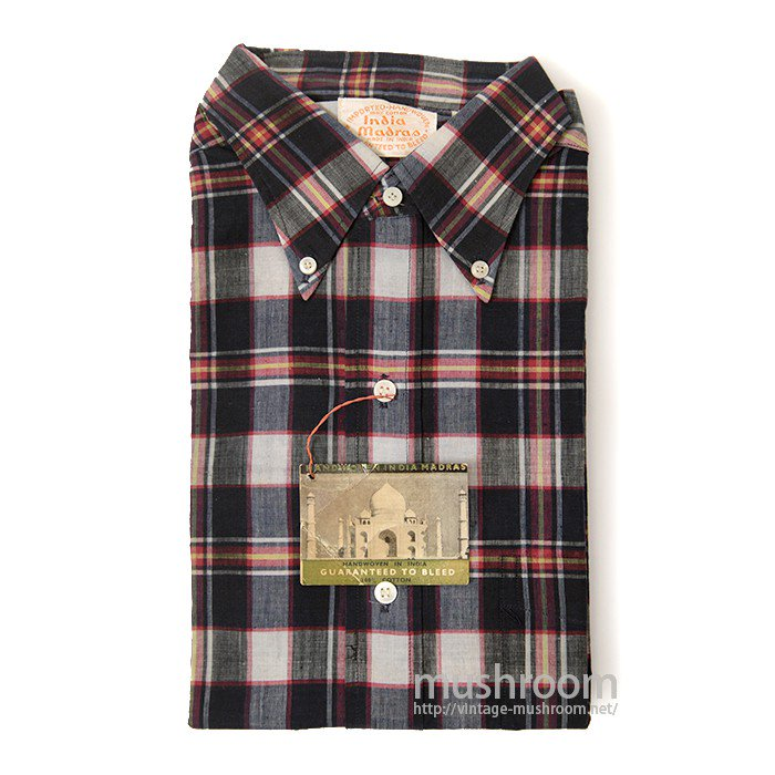 INDIA-MADRAS PLAID COTTON SHORT-SLEEVE BD SHIRT( DEADSTOCK )