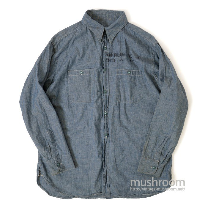 U.S.NAVY CHAMBRAY SHIRT( UNUSED/ONE-WASHED )