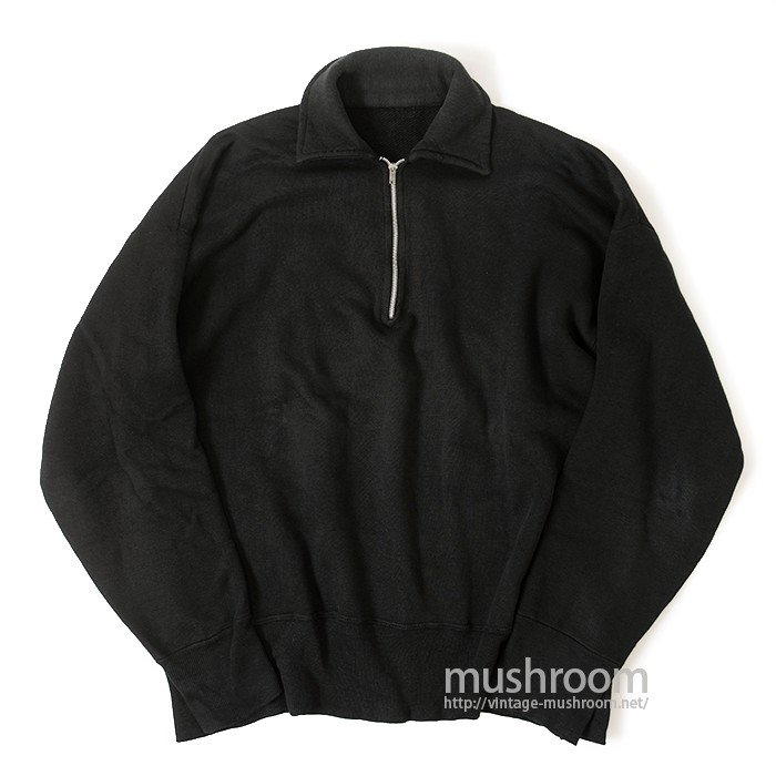 OLD BLACK COTTON HARF-ZIP SWEAT SHIRT