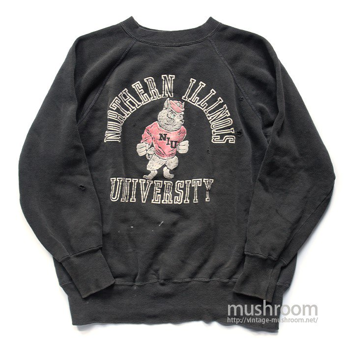 OLD COLLEGE FLOCK PRINT SWEAT SHIRT( BLACK )