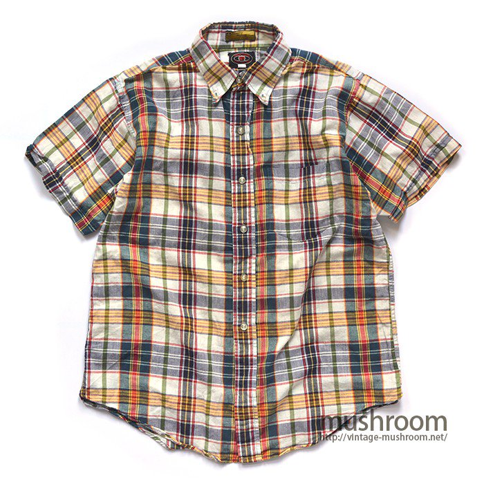 OLD PLAID MADRAS TYPE COTTON BD SHIRT( MINT )