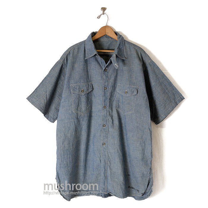U.S.N SHORT SLEEVE CHAMBRAY SHIRT WITH CHINSTRAP