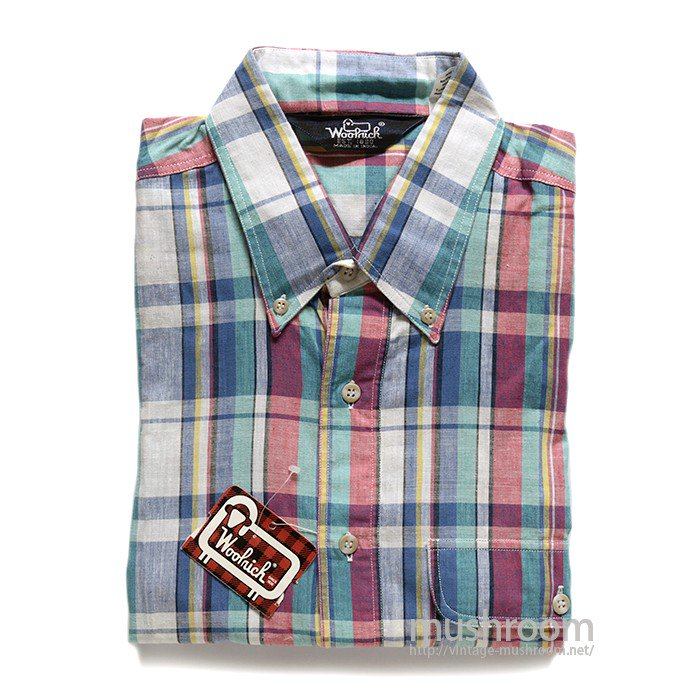 WOOLRICH INDIA-MADRAS PLAID COTTON SHORT-SLEEVE BD SHIRT( DEADSTOCK )