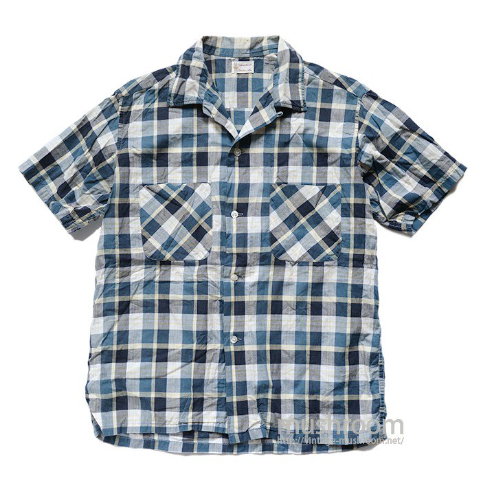 TOWNCRAFT PLAID COTTON  SHORT-SLEEVE BOX SHIRT