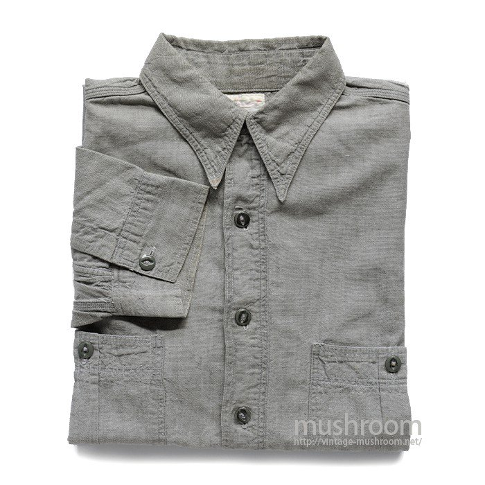 TOP SPEED GRAY CHAMBRAY WORK SHIRT WITH CHINSTRAP
