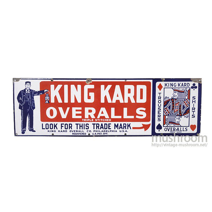 KING KARD OVERALLS ADVERTISING SIGN
