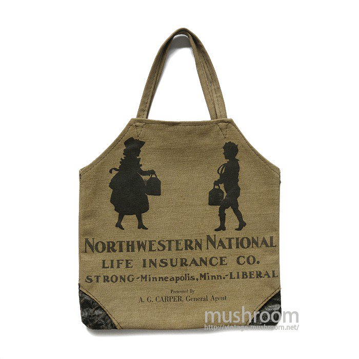 NORTHWESTERN NATIONAL ADVERTISING CANVAS TOTE BAG( MINT )