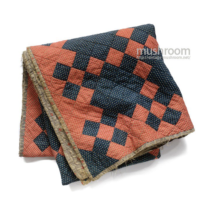 OLD INDIGO CALICO PATCHWORK QUILT( STAR )