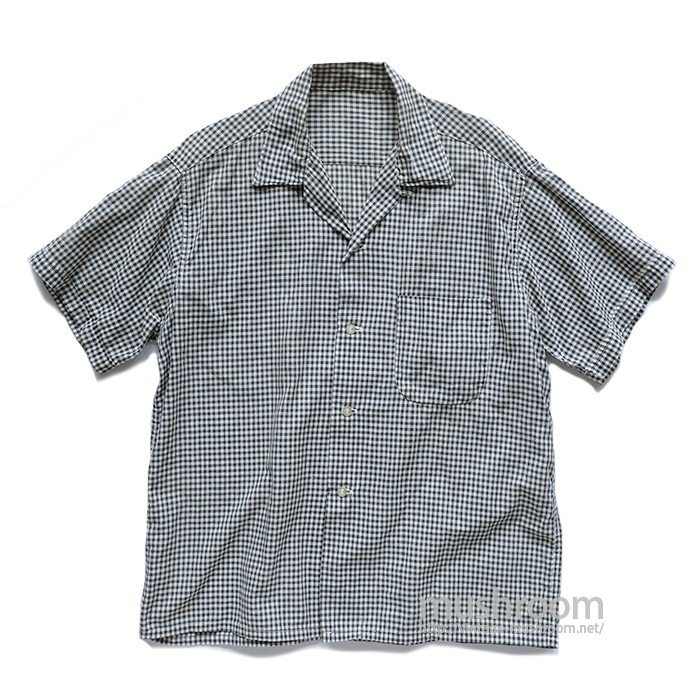 BLACK&WHITE GINGHAM CHECK SHORT-SLEEVE SHIRT