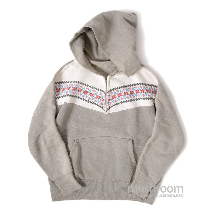 OLD SNOW PATTERN HALF-ZIP SWEAT HOODY