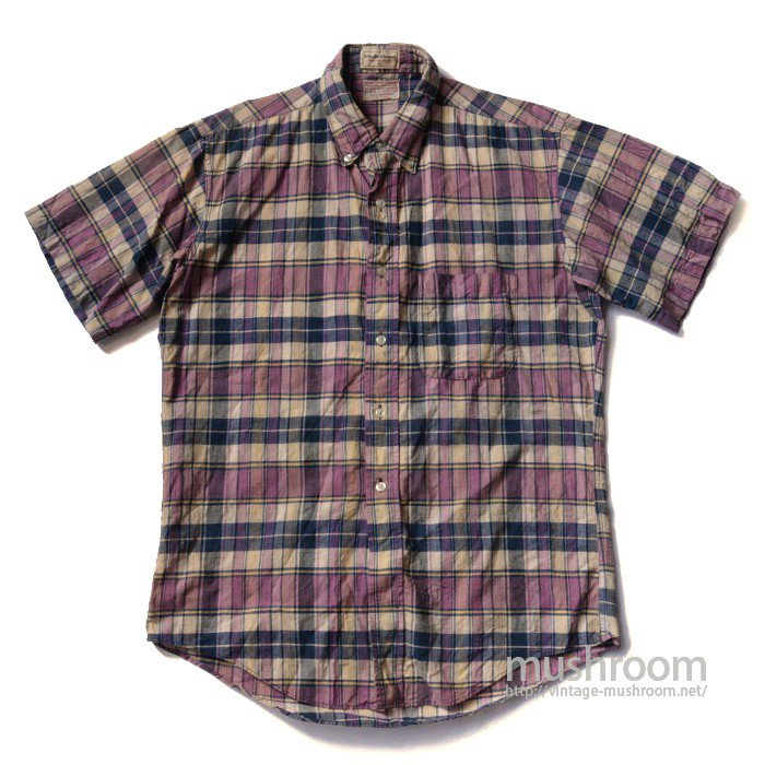 OLD MADRAS PLAID COTTON SHORT SLEEVE BD SHIRT( MINT )