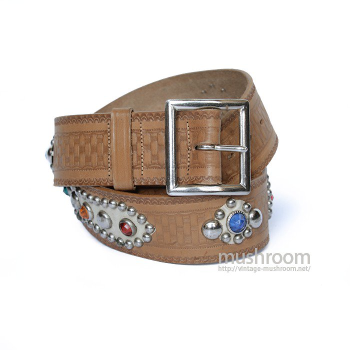 OLD STUDDED JEWEL SADDLE LEATHER BELT( W34/DEADSTOCK )