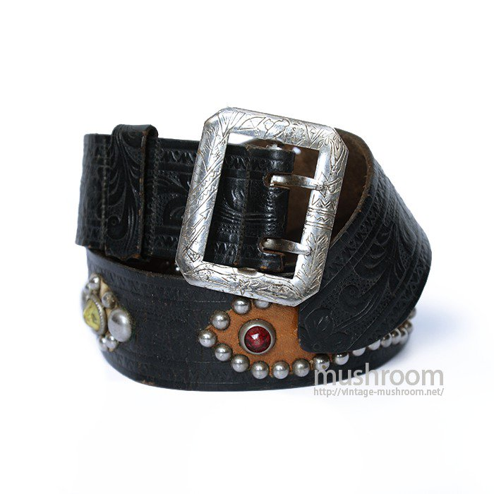 OLD STUDDED JEWEL BLACK LEATHER BELT( W34/MINT )