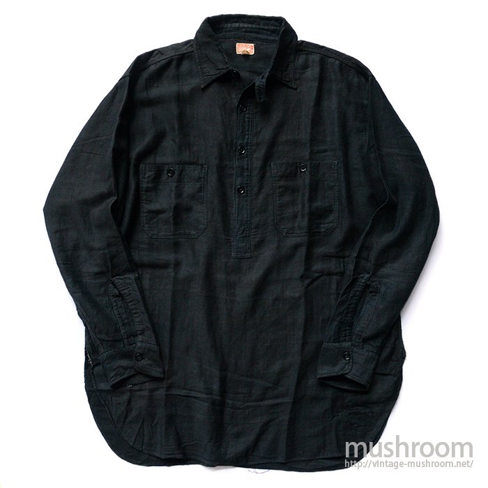 HERCULES PULLOVER BLACK COTTON WORK SHIRT