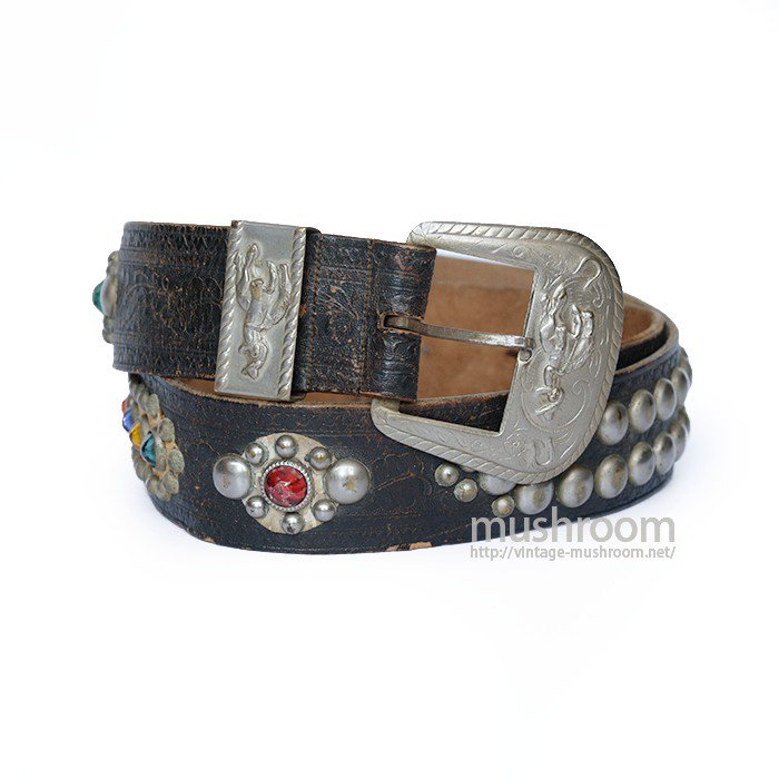 OLD STUDDED JEWEL BLACK LEATHER BELT( W36 )