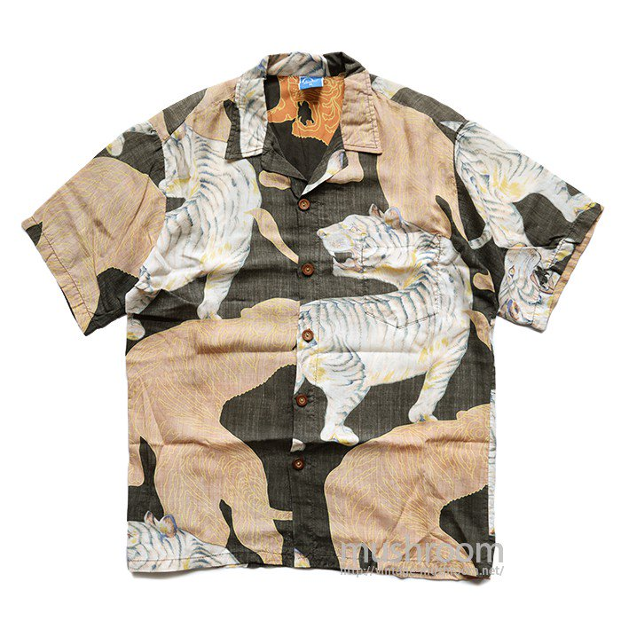 OP TIGER-PATTERN HAWAIIAN SHIRT