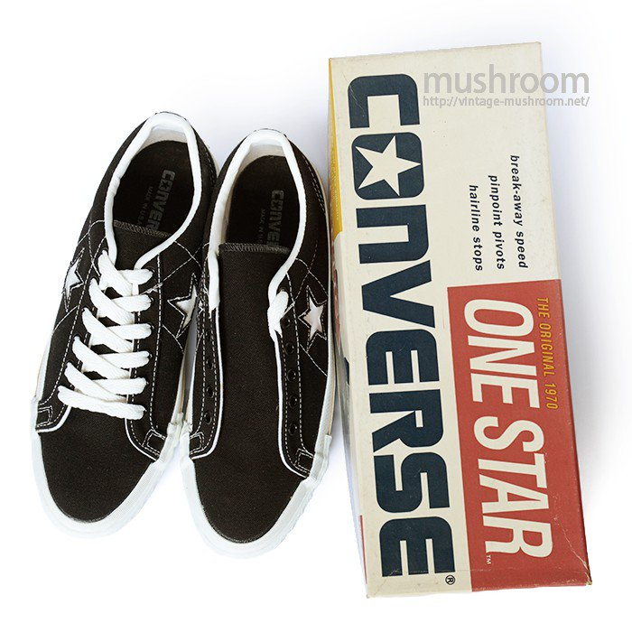 CONVERSE ONE-STAR LO BLACK CANVAS SHOES( 8/DEADSTOCK )