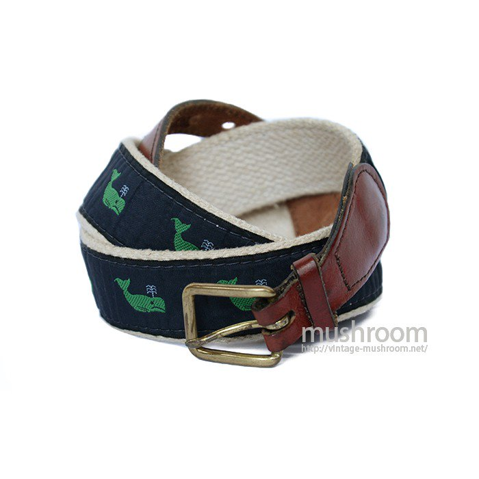 OLD WHALE PATTERN COTTON AND LEATHER BELT