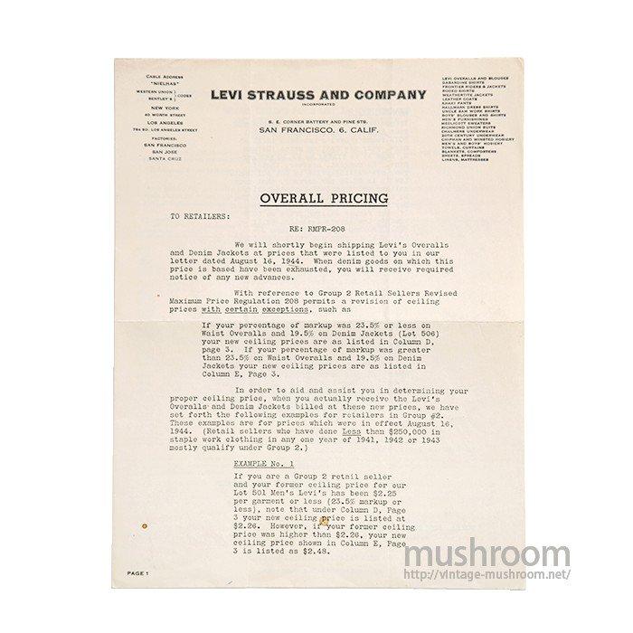WW2 LEVI'S PRICE LIST PAPER