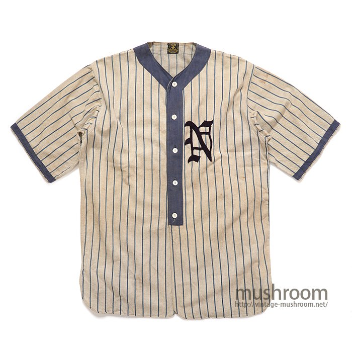 OLD TWO-TONE STRIPE COTTON BASEBALL SHIRT