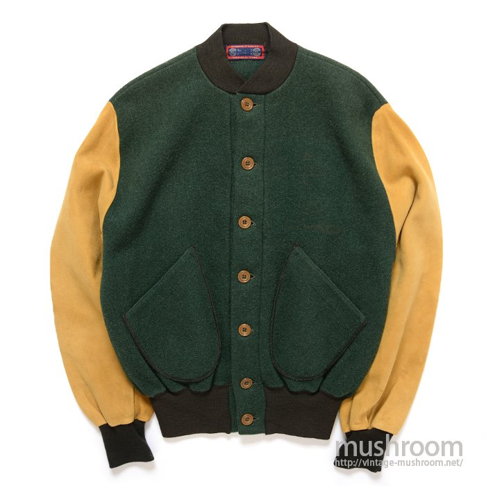 SPALDING ATHLETIC WOOL JACKET WITH NUBUCK SLEEVES