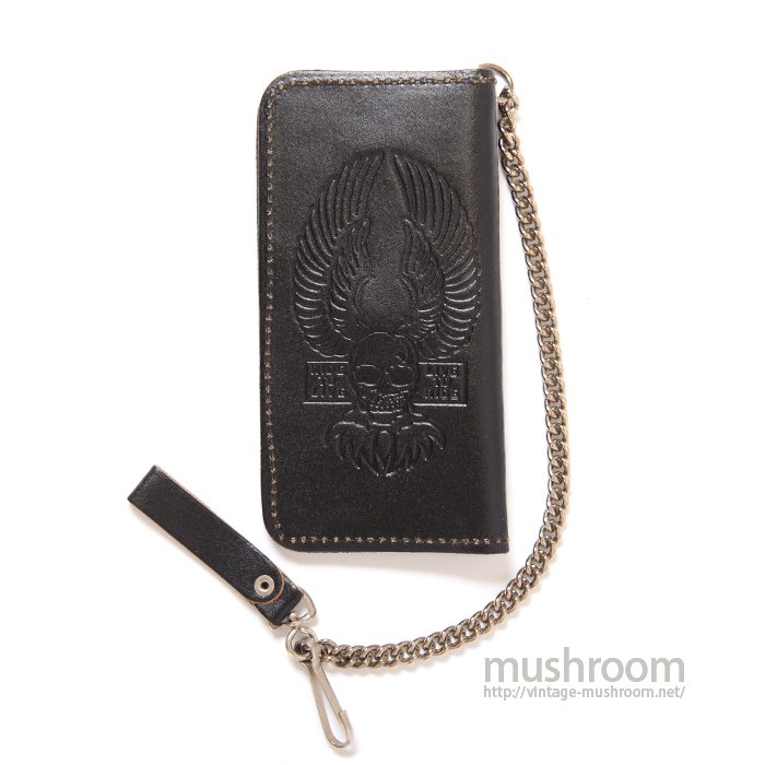 SKULL-WING BLACK LEATHER BIKER'S WALLET( DEADSTOCK )