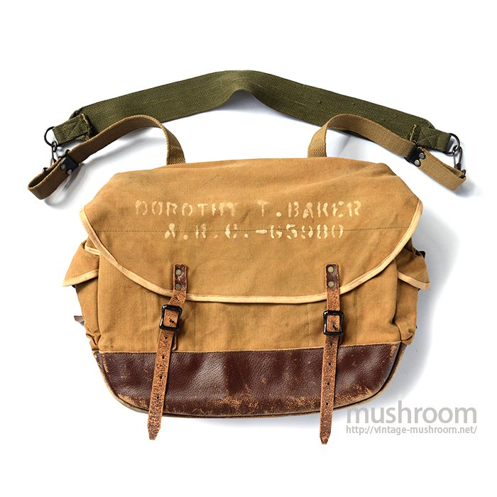 A&F CANVAS&LEATHER SHOULDER BAG WITH STENCIL