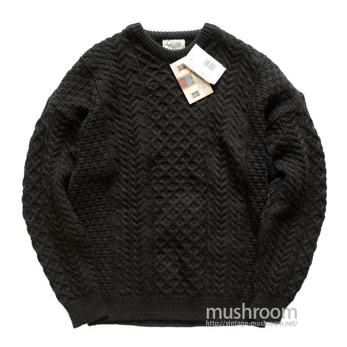 CARRAIG DONN BLACK ARAN KNIT SWEATER( DEADSTOCK )