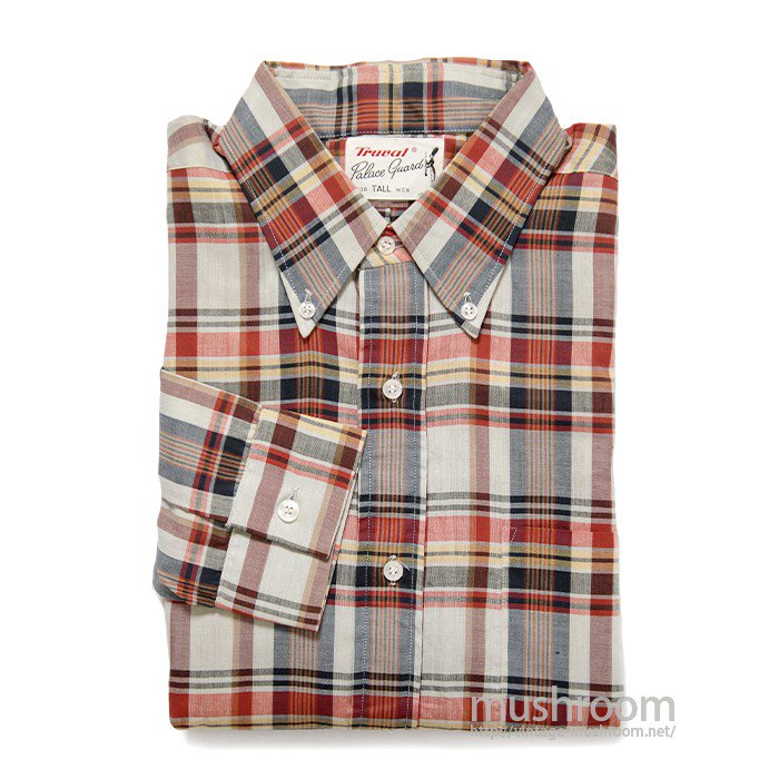 TRUVAL MADRAS PLAID COTTON L/S BD SHIRT( M/DEADSTOCK )