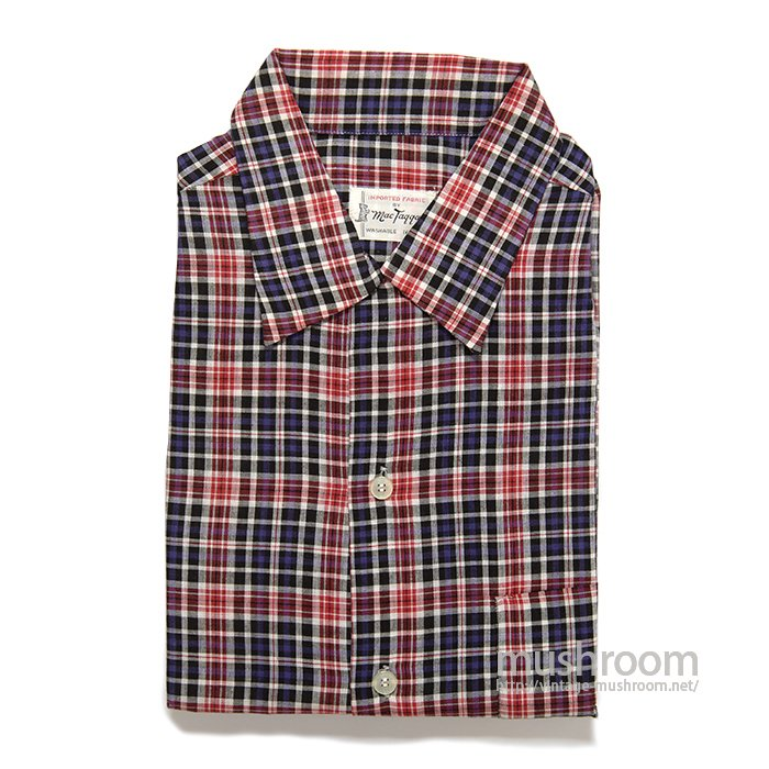 MAC TAQQART PLAID COTTON BOX SHIRT( L/DEADSTOCK )