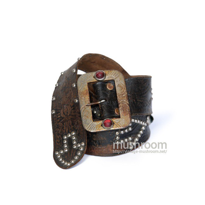 OLD STUDDED JEWEL BLACK LEATHER BELT
