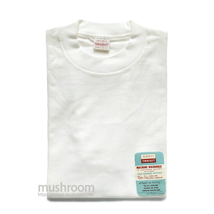 PENNEY'S TOWNCRAFT WHITE COTTON T-SHIRT( S/DEADSTOCK )