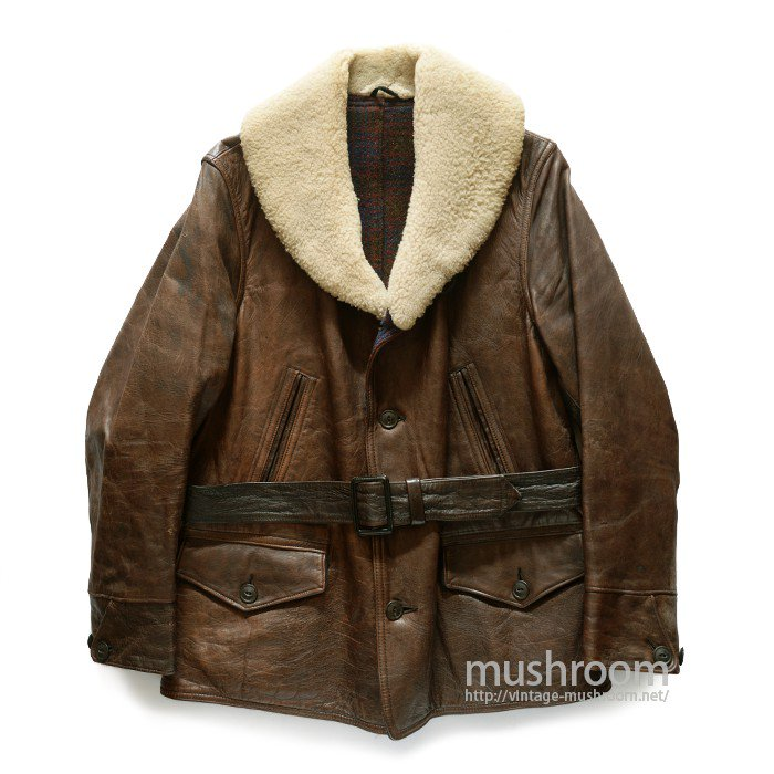 SINGLE BREASTED BROWN HORSEHIDE CAR COAT( MINT )