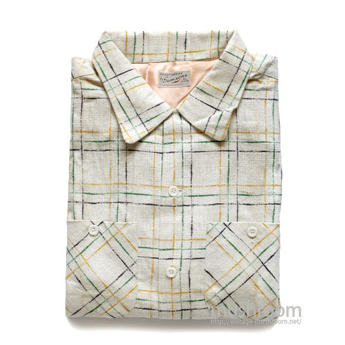 SAM SONS PLAID PRINT FLANNEL BOX SHIRT( XL/DEADSTOCK )