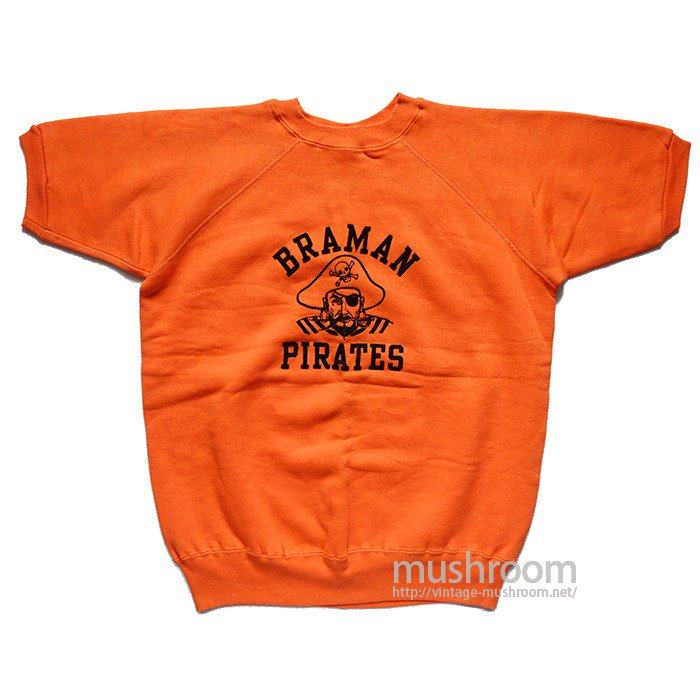 PIRATES FLOCK PRINT SHORT-SLEEVE SWEAT SHIRT(XL/DEADSTOCK )