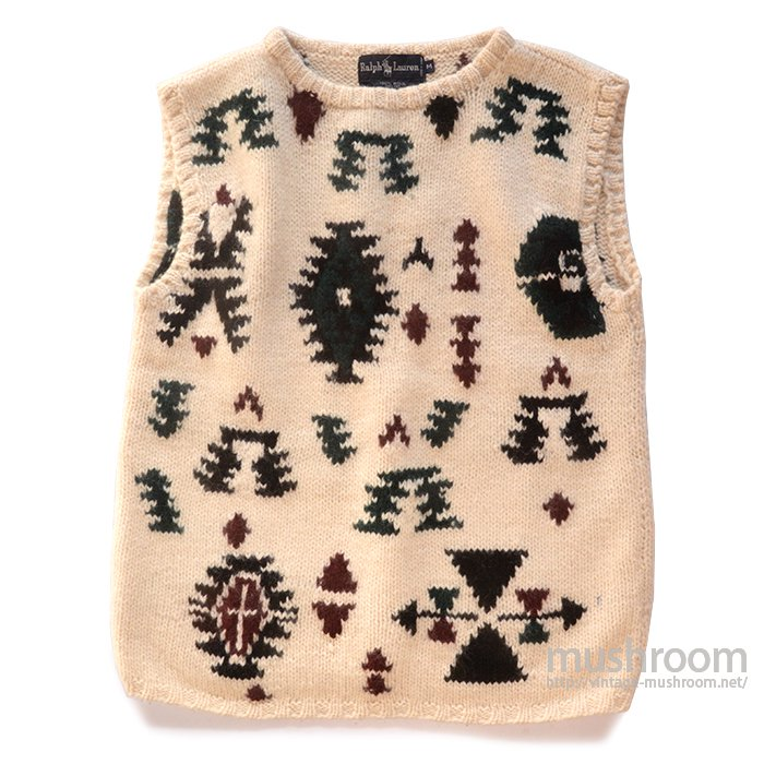 RALPH LAUREN NATIVE PATTERN HAND-KNIT VEST