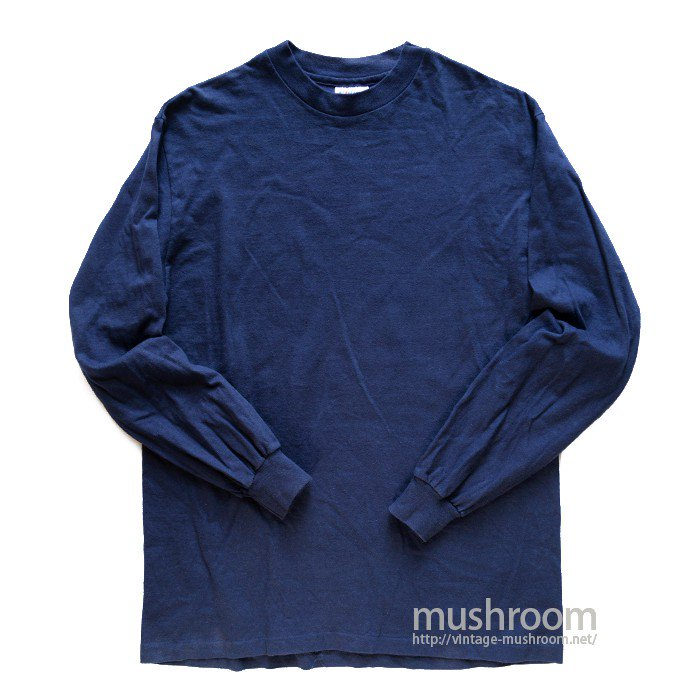 HANES NAVY LONG-SLEEVE TEE( M/MINT )