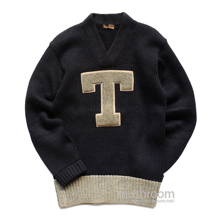 OLD TWO TONE LETTERMAN SWEATER