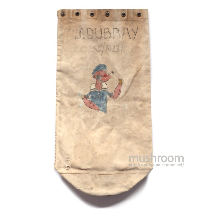 U.S.NAVY CANVAS DUFFLE BAG WITH HAND-PAINT