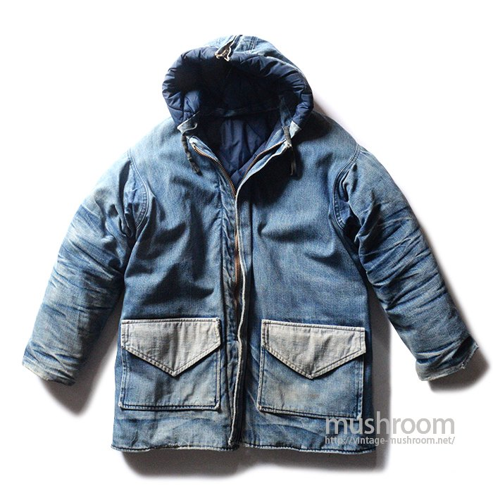 OLD HAND-MADE DENIM DOWN JACKET WITH HOODY