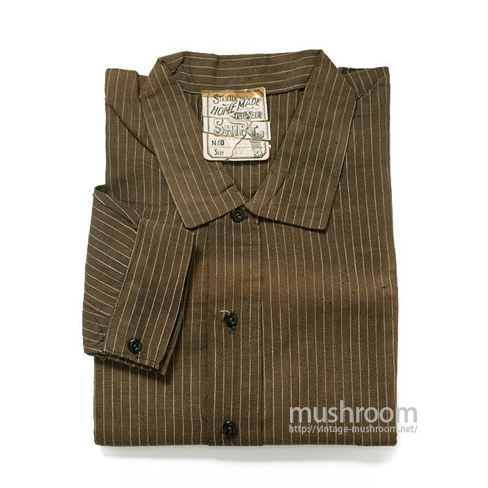 OLD BROWN STRIPE PULLOVER WORK SHIRT( DEADSTOCK )