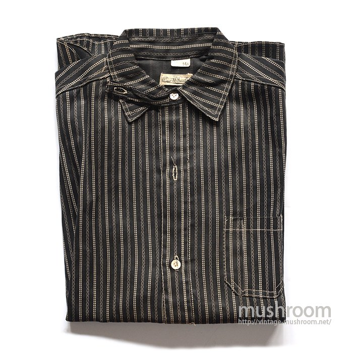 OLD BLACK STRIPE PULLOVER WORK SHIRT( DEADSTOCK )