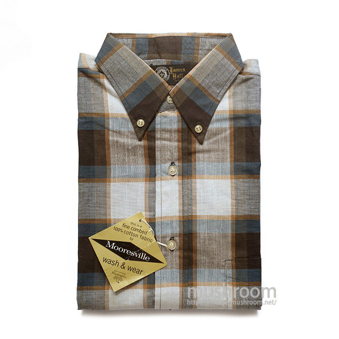 JAMES HALL PLAID COTTON SHORT-SLEEVE SHIRT( S/DEADSTOCK )