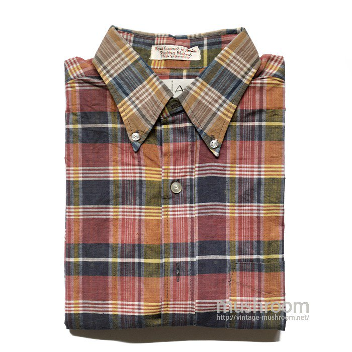 OLD MADRAS PLAID COTTON SHORT SLEEVE BD SHIRT( M/DEADSTOCK )