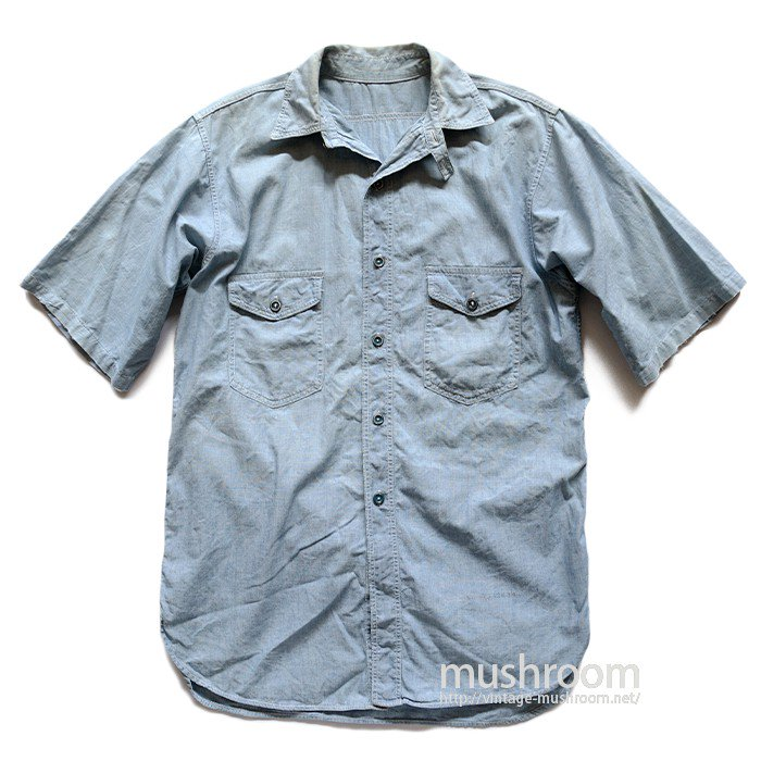 OLD S/S CHAMBRAY WORK SHIRT WITH CHINSTRAP
