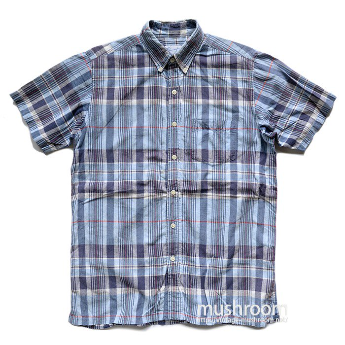 OLD INDIA MADRAS PLAID COTTON SHORT SLEEVE BD SHIRT